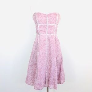 Anthropologie Odille Mauve Pink Strapless Dress
